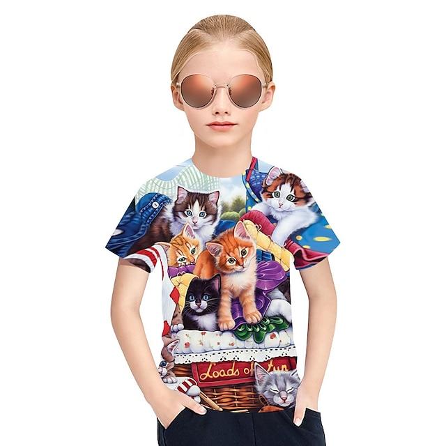 Barn Jente T skjorte T-skjorte Kortermet Katt Ruter 3D Dyr Regnbue Barn Topper Aktiv Punk og gotisk søt stil Barnas Dag