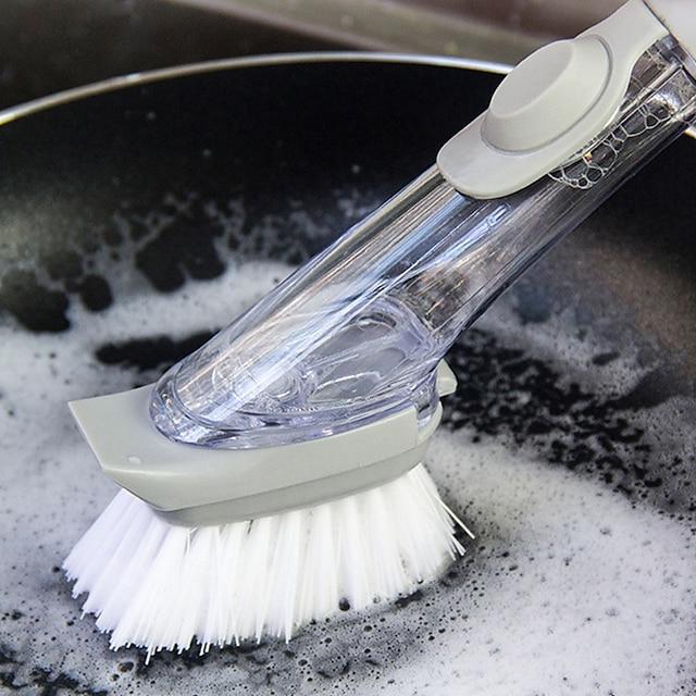 더블 사용 주방 청소 브러시 스크러버 접시 그릇 세척 스폰지 자동 액체 디스펜서 주방 냄비 청소기 도구