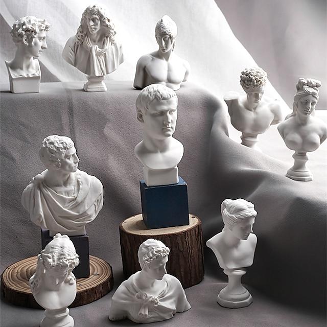 10 Pieces/SET Sketch Head Statue Gypsum Bust Mini Statue Gypsum Sketch Line Drawing Teaching Resin Art Craft Display