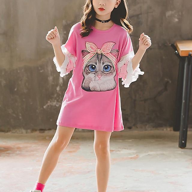 Infantil Para Meninas Camisa Camiseta Manga 3/4 Gato Animal Paetês Bordado Branco Rosa Crianças Blusas Activo Dia da Criança