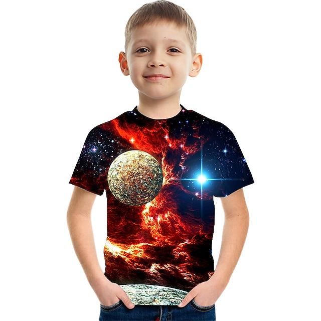 Enfants Garçon T-shirt Tee-shirts Manches Courtes Espace Impression 3D Graphique Bloc de Couleur Col ras du cou Enfants Le Jour des enfants Eté Hauts basique Simple Bleu Violet Rouge 2-12 ans