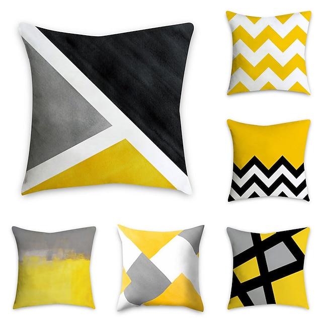 набор из 6 полиэфирных наволочек, геометрический рисунок, графические принты, простая классическая квадратная традиционная классическая декоративная подушка