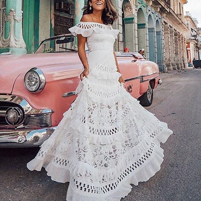 여성용 A 라인 드레스 맥시 드레스 화이트 짧은 소매 한 색상 주름장식 봄 여름 오프 숄더 뜨거운 휴가 드레스 S M L XL
