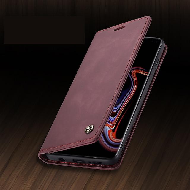 telefon Etui Til Samsung Galaxy Fuldt etui Læder æske Tegnebogskortetui S9 S9 Plus S8 Plus S8 S10 S10 + Pung Kortholder Stødsikker Ensfarvet PU Læder TPU