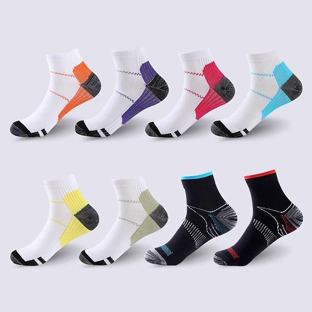Compression Socks Athletic Sports Socks 8 pairs Short Women's Men's Crew Socks Tube Socks Breathable Sweat wicking Comfortable Gym Workout Basketball Running Skateboarding Sports Color Block Nylon