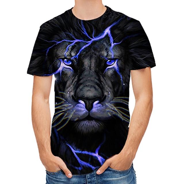 Men's T shirt Graphic 3D Animal Print Tops Black
