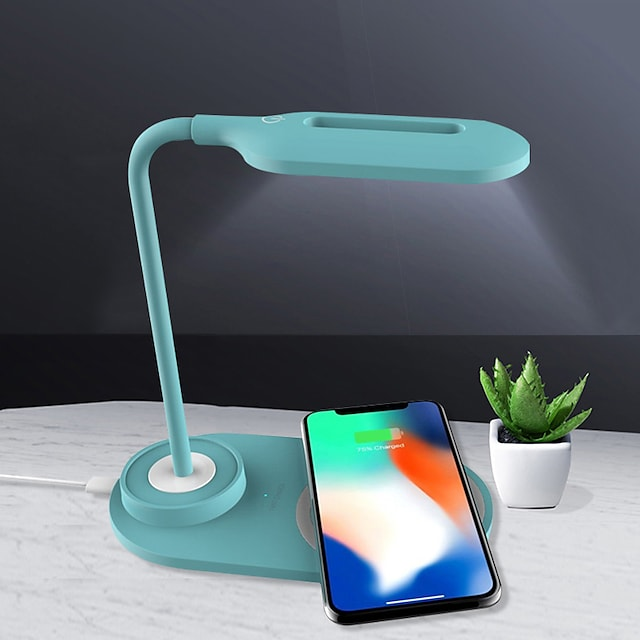 Smart Desk Lamp with Charging Station Wireless Charging for Phone Charming Green desk Lamp White Lamp USB Rechargeable Adjustable Arm For Living Room Study Room Home Office <5V