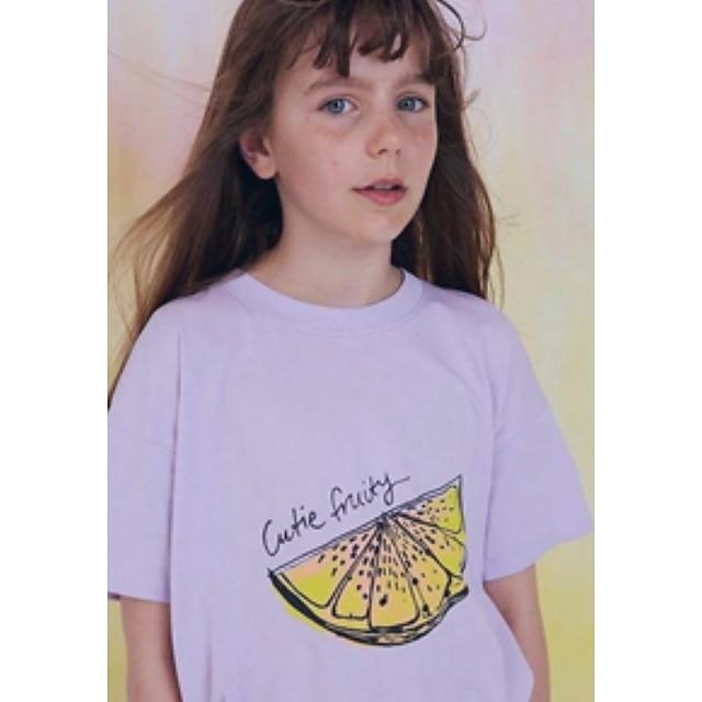 아동 여아 티셔츠 짧은 소매 과일 어린이 탑스 베이직 퍼플