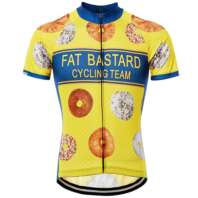 21Grams Novelty Funny Men's Short Sleeve Cycling Jersey - Blue Yellow Black Bike Jersey Top Quick Dry Breathable Reflective Strips Sports Summer Terylene Mountain Bike MTB Road Bike Cycling Clothing