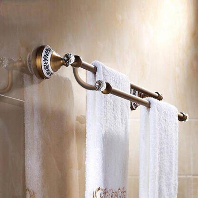 wielofunkcyjny wieszak na ręcznik antyczny mosiądz kryształ i ceramika do kąpieli 2-wieżowy bar 1 szt