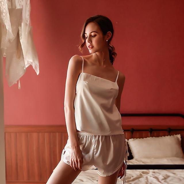 여성용 뒷면이 없는 스타일 컷 아웃 메쉬 가운 수트 잠옷 자카드 솔리드 화이트 / 블랙 원사이즈 / 레이스