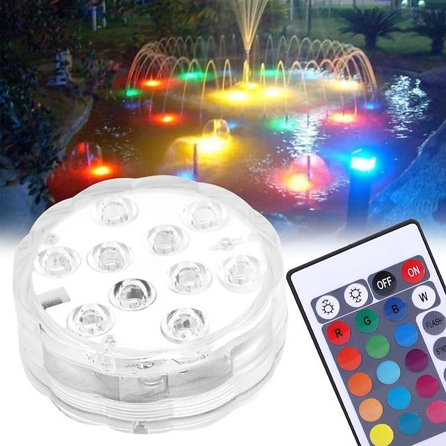 10 개 4 개 2 개 5 W 수중 조명 방수 원격 제어 밝기조절가능 멀티 색상 4.5 V 실외 조명 수영장 안마당 10 LED 비즈 할로윈 크리스마스