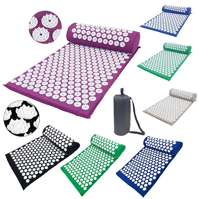 Ensemble de tapis et d'oreillers d'acupression Tapis de Yoga Des sports ABS Coton mousse Conception Ergonomique Facile à transporter Pliant Massage Favorise la circulation sanguine de la tête Soulage