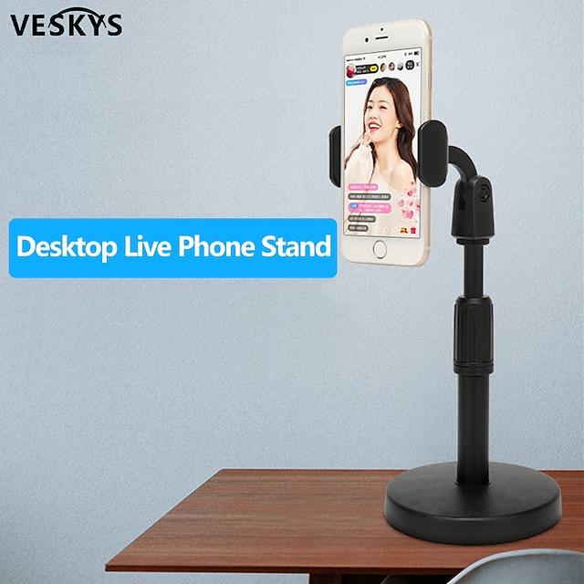 VESKYS Accroche Support Téléphone Bureau Téléphone Portable Support Ajustable Support de bureau pour téléphone Ajustable Rotation 360 ° Métal Accessoire de Téléphone iPhone 12 11 Pro Xs Xs Max Xr X 8