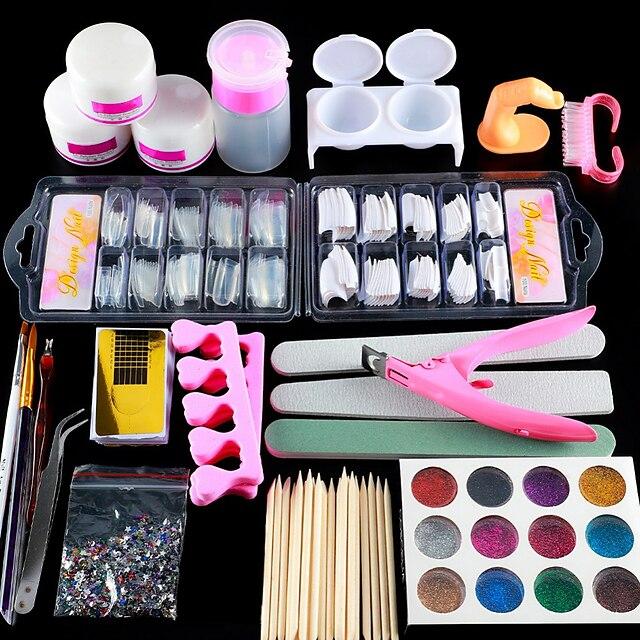 Nail Designs 2020 Acrylic Nail Art Kit Manicure Set 12 Colors Nail Glitter Powder Decoration Acrylic Pen Brush Nail Art Tool Kit For Beginners Arylic Liquid Nail Kit