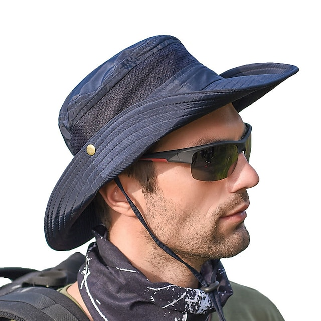 Adults Wide Brim Sun Hat Bucket Hat Waterproof Quick Dry Breathable Spring, Fall, Winter, Summer Polyester Hat for Fishing Outdoor / Women's / Men's / Solid Colored