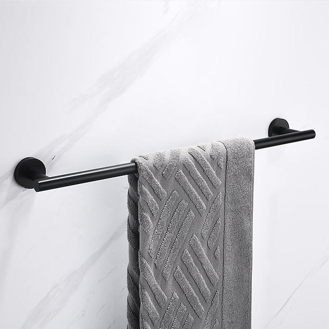 Porte-serviettes multifonction nouveau design en acier inoxydable à tige unique fixé au mur pour salle de bain perforable noir mat 1pc