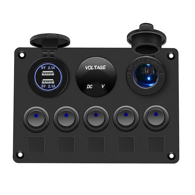 自動車用船舶用デジタル電圧計デュアルUSBポート12Vコンセントの組み合わせ防水LEDロッカースイッチパネル
