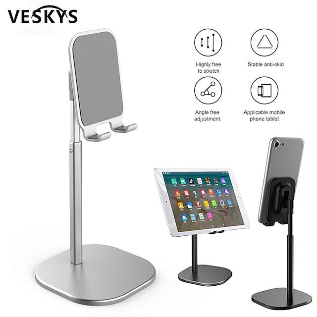 VESKYS Supporto per cellulare Da letto Da scrivania iPad Tavoletta Supporto regolabile Regolabili Silicone Lega di alluminio Appendini per cellulare iPhone 12 11 Pro Xs Xs Max Xr X 8 Samsung Glaxy