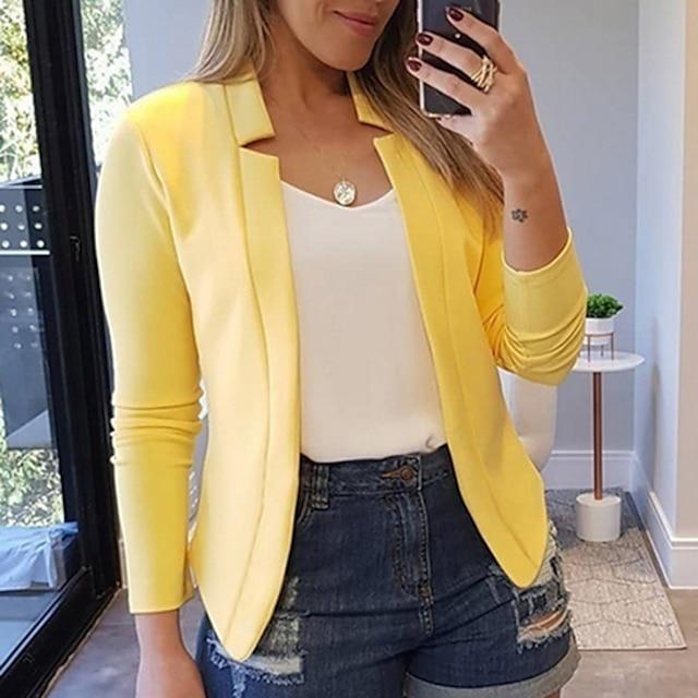 여성용 블레이저 솔리드 컬러 폴리 에스테르 코트 탑스 화이트 / 블랙 / 레드