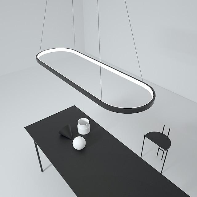 LED pendel 40W rektangel aluminium sort malet finish moderne lampe til spisestue resturant kaffebar
