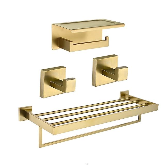 badkamer accessoire set inclusief toiletrolhouder 2 badjas haken en bad plank multifunctioneel roestvrij staal wandmontage gegalvaniseerd gouden 4 stuks;