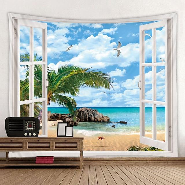 fenêtre paysage mur tapisserie art décor couverture rideau pique-nique nappe suspendu maison chambre salon dortoir décoration polyester mer océan plage palm