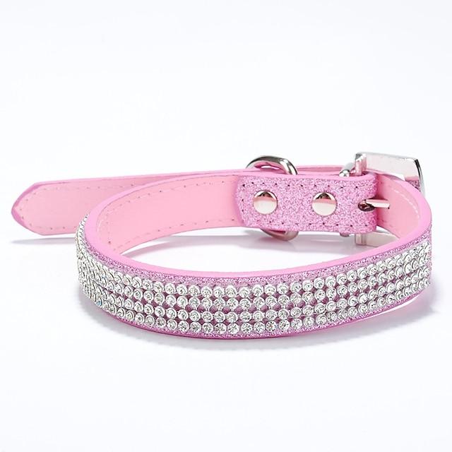 Câine Gulere Ajustabile / Retractabil Ștras PU piele Rosu Albastru Roz Roze Bej