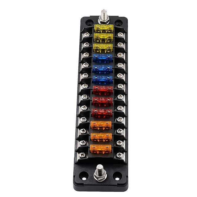 32v fb1904 12-vejs en-i-en-ud-bilsikringsboks uanset positiv og negativ (med 24 sikringsstykker) / flammehæmmer / høj og lav temperaturbestandig / dobbelt levering