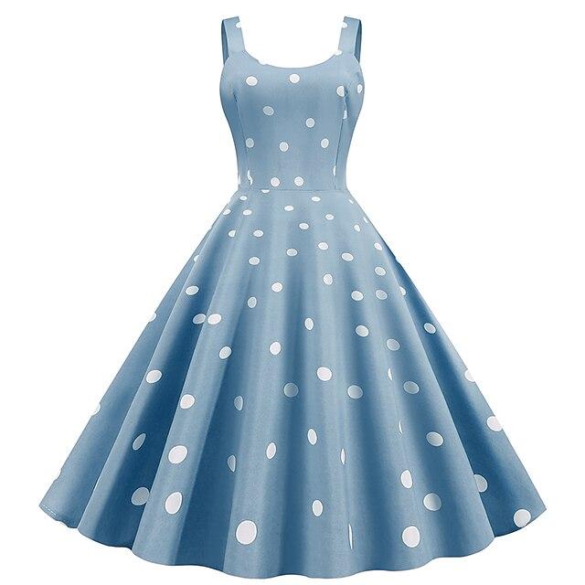 Pentru femei Rochie teacă Rochii Lungime Genunchi Negru Roz Prăfuit Albastru Deschis Fără manșon Buline Imprimeu Rotund Stil Vintage Manșon Flare cuff S M L XL XXL