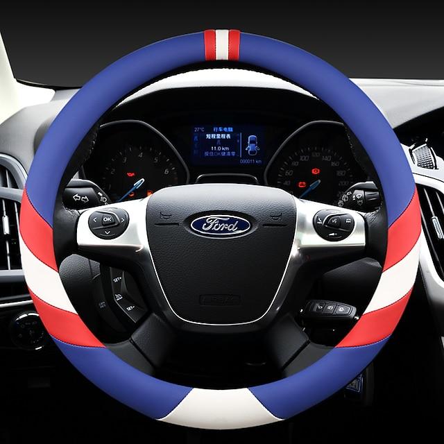 ファッションカーステアリングホイールカバーレザー38センチ通気性アンチスリップフォーシーズンオートアクセサリー