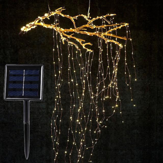 branche de vignes à énergie solaire ensemble de guirlande lumineuse à LED 2m x 10 branche 200led extérieur clôture de jardin étanche arbre conduit flexible ficelle branche de fée lumière de cour