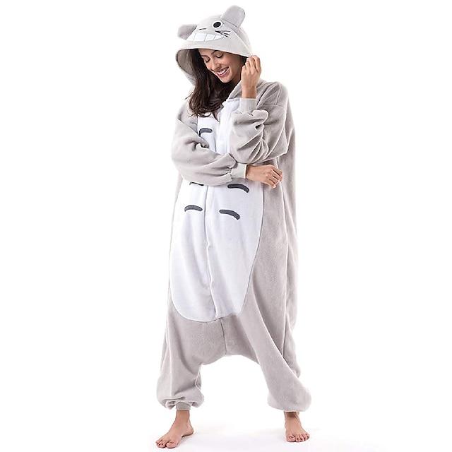 Adults' Camouflage Kigurumi Pajamas Nightwear Cat Totoro Animal Onesie Pajamas Coral fleece Gray Cosplay For Men and Women Animal Sleepwear Cartoon Festival / Holiday Costumes / Leotard / Onesie
