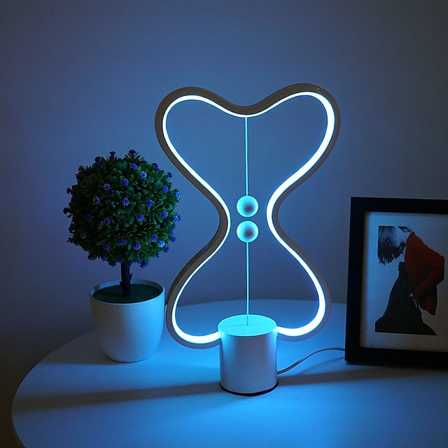 Balance LED Table Lamp Smart Lampara Magnetic Mid-air Switch USB Creative Bedroom Bedside Night Light Double Heart Colorful Gift