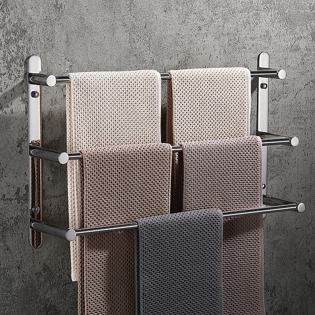 Barra para Toalha / Prateleira de Banheiro Criativo / Multicamadas / Novo Design Moderna / Clássica Aço Inoxidável 1pç - Banheiro Barra de 3 toalhas Montagem de Parede / Polido