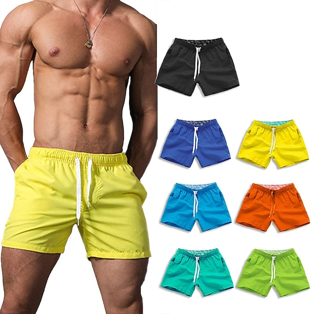 Men's Swim Shorts Swim Trunks Bottoms Quick Dry Breathable Micro-elastic Drawstring - Swimming Water Sports Solid Colored Summer