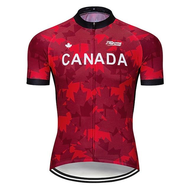 21Grams 남성용 짧은 소매 싸이클 져지 스판덱스 와인 레드 캐나다 국기 자전거 져지 탑스 산악 자전거 로드 사이클링 자외선 방지 빠른 드라이 통기성 스포츠 의류 / 스트레치
