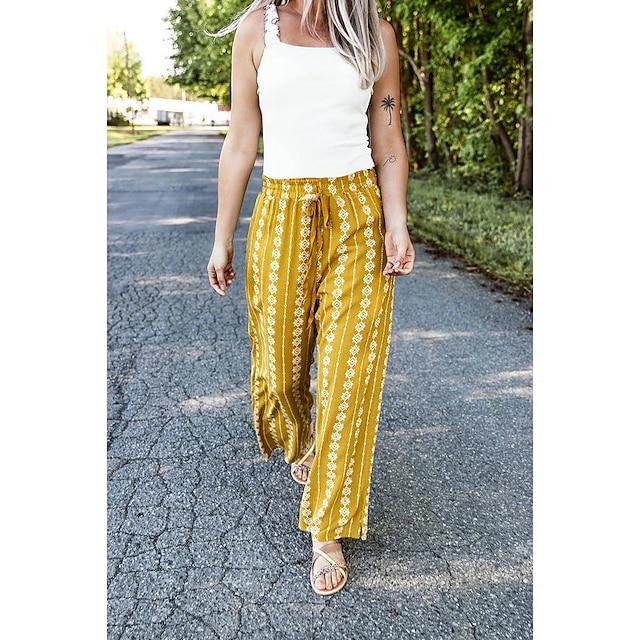 Mujer Boho Al Aire Libre Diario Chinos Pantalones Estampado Correa Amarillo