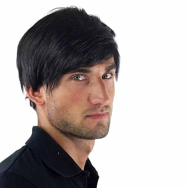 Pelucas sintéticas Heterosexual Con flequillo Peluca Corta Negro Pelo sintético 6 pulgada Hombre Nuevo diseño Fácil vestidor Fresco Negro