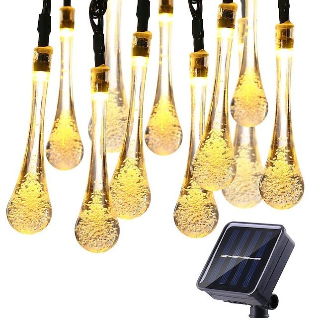 لمبة شمسية خارجية بإضاءة LED بطول 12 مترًا 100LED مصابيح قطيرة سلسلة أضواء سلسلة أضواء خارجية 8 وظائف مقاومة للماء في الهواء الطلق لتزيين الحديقة في الحديقة مصباح شمسي