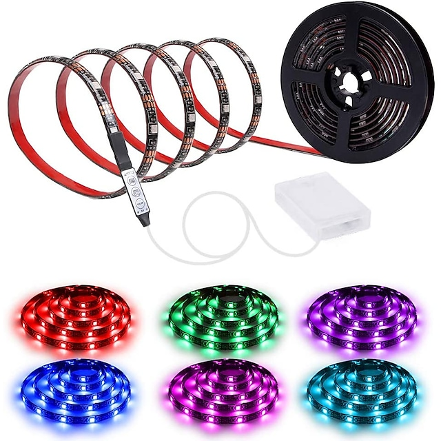 200CM Waterproof LED Light Strips RGB Tiktok Lights Strip AA Battery Box MINI 3key controller Battery Powered Multi Color