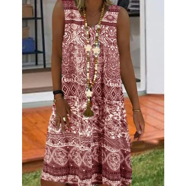 Women's Shift Dress Short Mini Dress Purple Wine Gray Light Blue Sleeveless Tribal Summer V Neck Casual 2021 S M L XL XXL 3XL 4XL 5XL