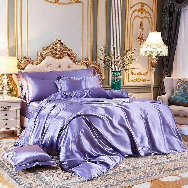 Ensemble de housse de couette en tissu de soie imité 4 pièces, les ensembles de literie en satin de luxe comprennent 1 housse de couette, 1 drap plat, 2 couvre-oreillers