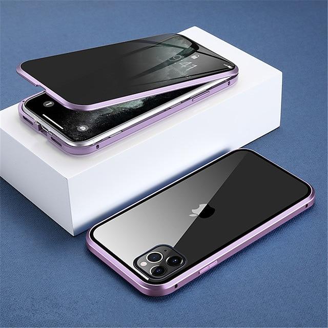 teléfono Funda Para Apple Funda de Cuerpo Entero adsorción magnética iPhone 12 Pro Max 11 Pro Max Traslúcido Doble Cara Anti pío Color sólido Vidrio Templado Metal