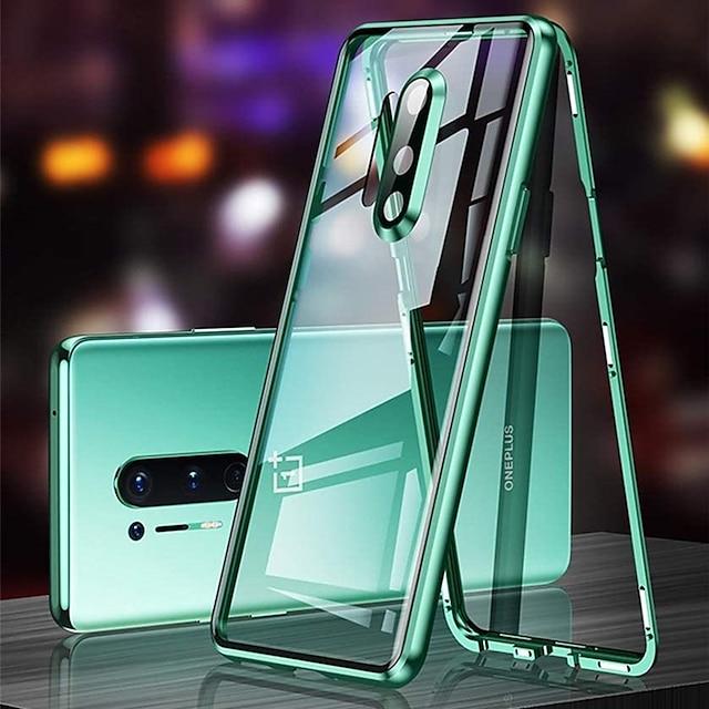 telefon Carcasă Pro OnePlus Celý kryt Magnetické adsorpční pouzdro OnePlus 8 Pro OnePlus 8 Průsvitný Dvoustranný Chránič objektivu fotoaparátu Jednobarevné Tvrzené sklo Kov