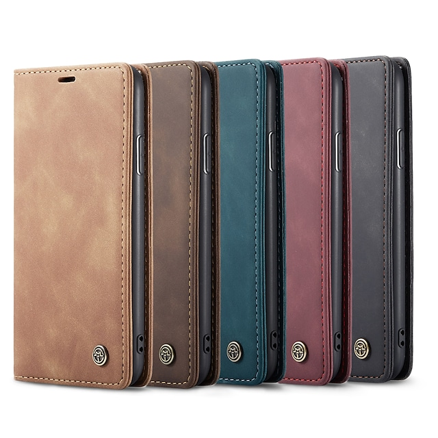 CaseMe New Retro Leather Magnetic Flip Case For iPhone 13 12 11/11 Pro Max/ SE 2020 / Xs Max / Xs / Xr / X / 8 Plus / 7 Plus / 6 Plus / 8 / 7 / 6 With Wallet Card Slot Stand Cover