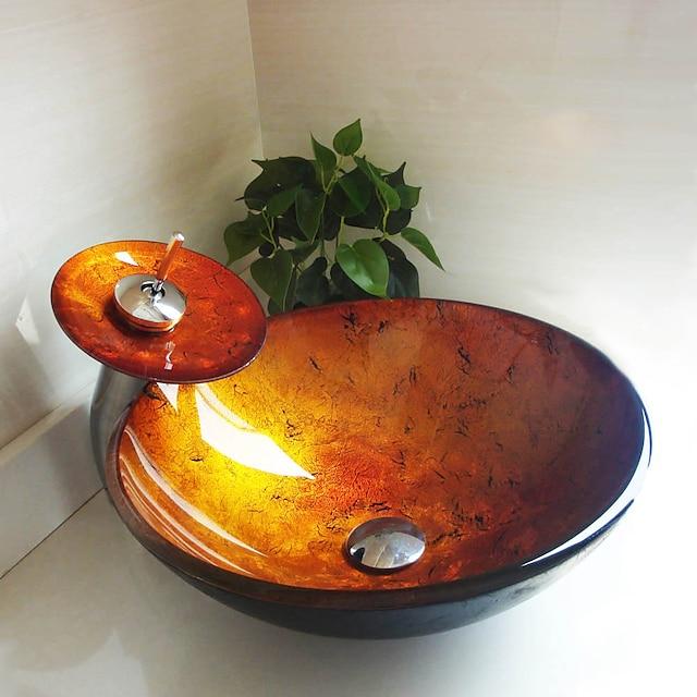 круглая мойка из закаленного стекла из золота с выдвижным сливом и монтажным кольцом