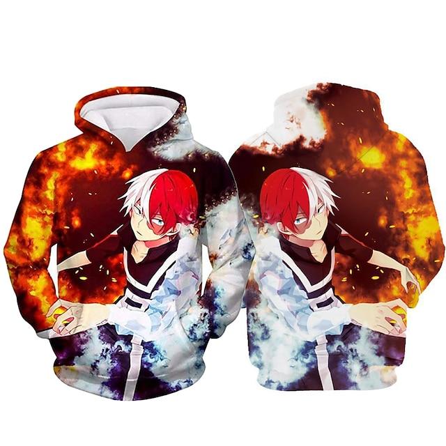 Inspiré par My Hero Academia Boko No Hero Todoroki Shoto Costume de Cosplay Sweat à capuche Polyester Imprimé Imprimé Sweat à capuche Pour Femme / Homme