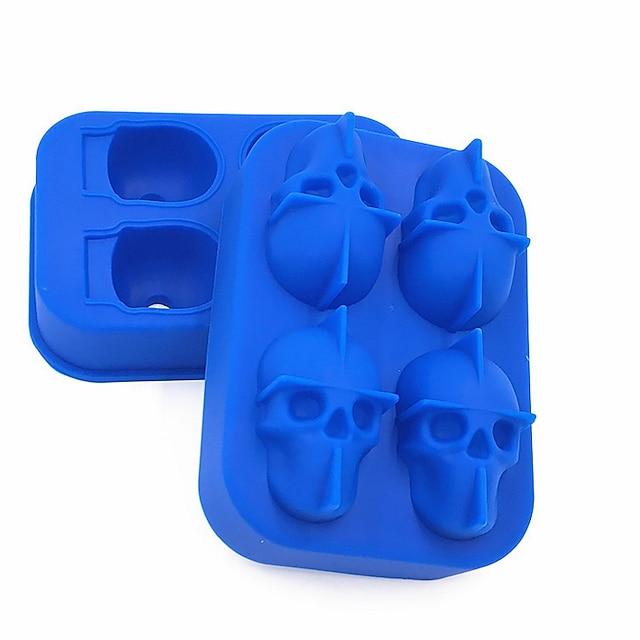 ice mold tray 3d skull ice cube skeleton party bar ice hockey silicone skull ice mold vassoio