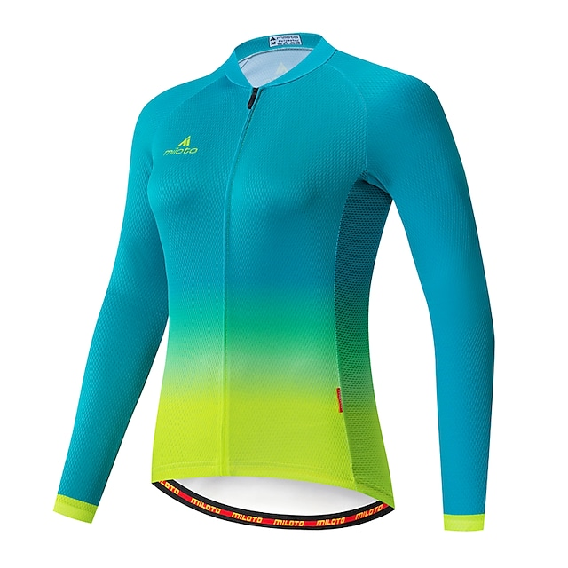 Miloto Women's Long Sleeve Cycling Jersey Summer Blue+Green Rainbow Gradient Solid Color Bike Jersey Top Mountain Bike MTB Road Bike Cycling Ultraviolet Resistant Quick Dry Breathable Sports Clothing